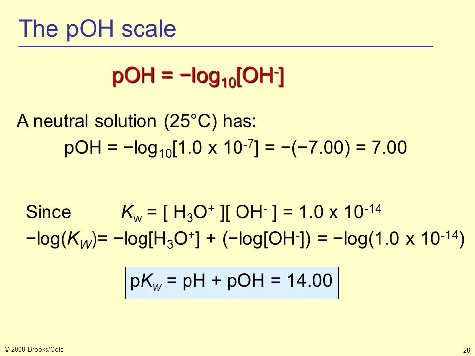 The pOH scale pOH = −log10[OH-] A neutral solution (25°C) has:
